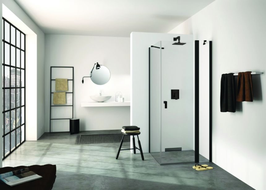 Design Pure Porte Battante All Black Parois De Douche De Salle De